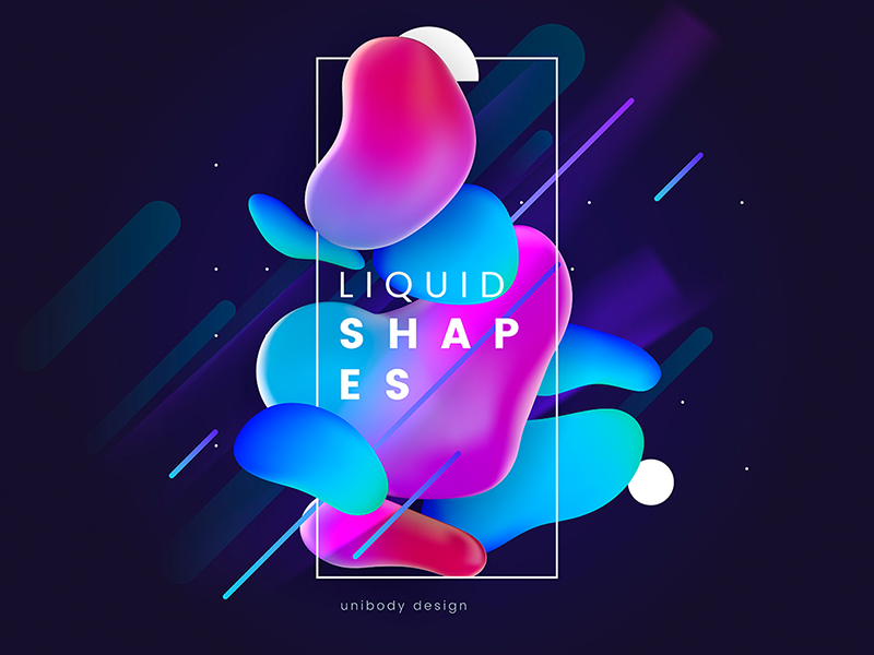 Colorful liquid shapes  Cover by HelenStock on Dribbble