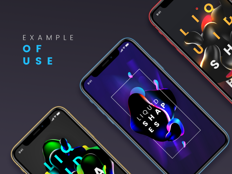 Dark liquid shapes. Example of use. Smartphone smartphone vector illustration creative 3d design graphic abstract device example ux ui app mobile trend flow gradient shape liquid dark