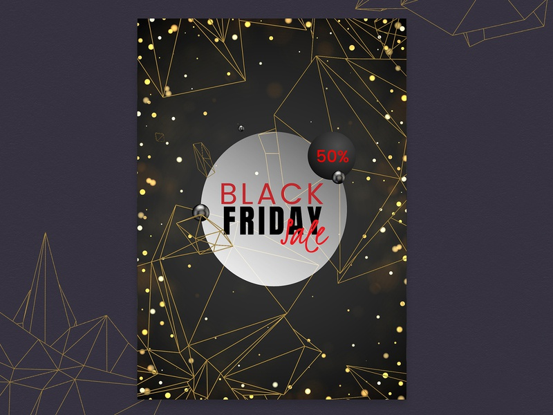 Black Friday, Poster 03 shapes illustration e-shopping e-commerce ecommerce golden gold contour outline vector branding banner poster design graphic abstract 3d promote sale black friday