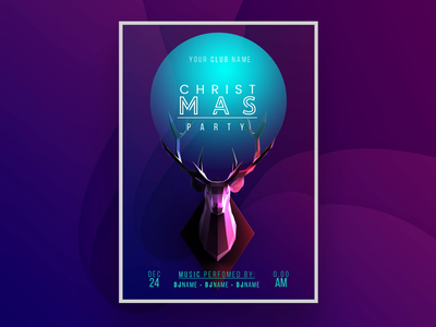 Trendy Christmas Poster new year broshure color celebration cover event party christmas poster holiday trendy creative market photoshop psd winter indigo flyer leaflet poster deer christmas