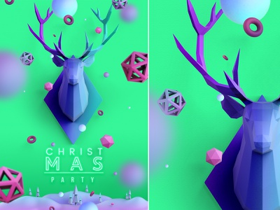 Christmas Poster in Aquamarine Color psd celebrate holiday event broshure low poly horn christmas tree flyer leaflet color aquamarine cover poster deer christmas animated 3d design graphic