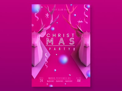 Incarnadine Christmas new year winter celebrate celebration holiday trend party flyer leaflet cover poster deer snowball red pink incarnadine christmas 3d design graphic