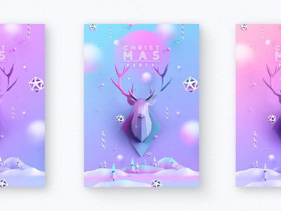 Soft Christmas 3d design graphic animated invitation tenderness celebration holiday new year party winter trend gradient cover leaflet flyer poster deer christmas soft colors