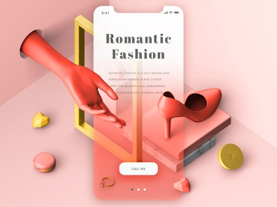 Romantic Fashion #04 💝 mock up valentines day customise fashion romantic wedding love color coral scene creator scenecreator trend abstract 3d illustration creative composition shapes design graphic