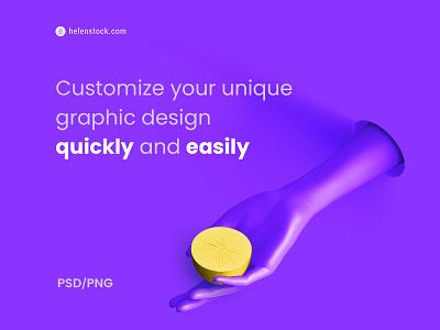 Romantic Fashion #09 ✋🍋 creative violet fashion romantic photoshop monochrome trendy color purple illustration shapes 3d design graphic hand lemon scene creator scenecreator png psd