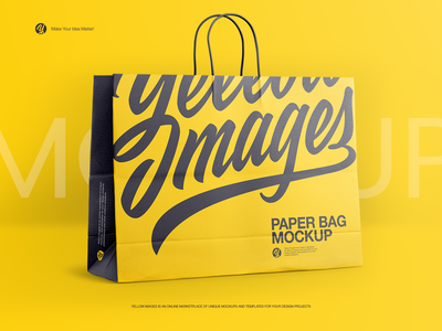 Paper Shopping Bag Mockup halfside view brand branding texture gold layer carton big rope handles eurotote bag paper matte helenstock mock-up yellow images shopping bag mockup shopping bag mockup bag shopping