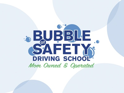 Bubble Of Safety vector icon typography driving school simple graphic local bubble branding brand identity design flat blue logo