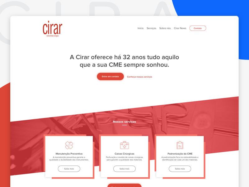 Cirar's new site homepage health page ui user interface home landing page website site