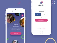 Gravity App Registration & Upgrade Screens