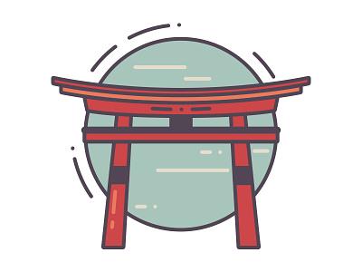 Torii flat icon design japanese gate minimalist flat design icon illustration vector japan