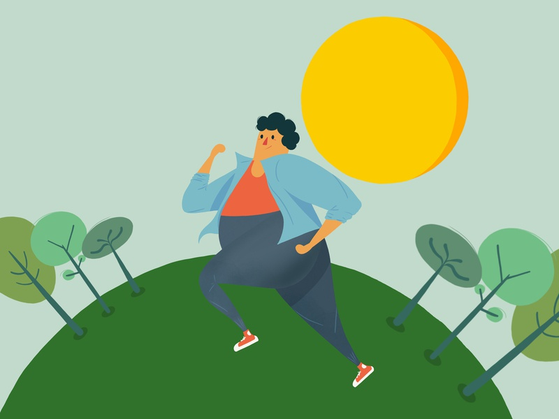 Running happy day nature character workout running pro create modern minimalist design vector flat design illustration