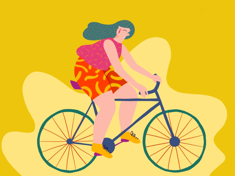 Girl riding bike modern riding bicycle flat textures pattern minimalist procreate illustration character woman girl