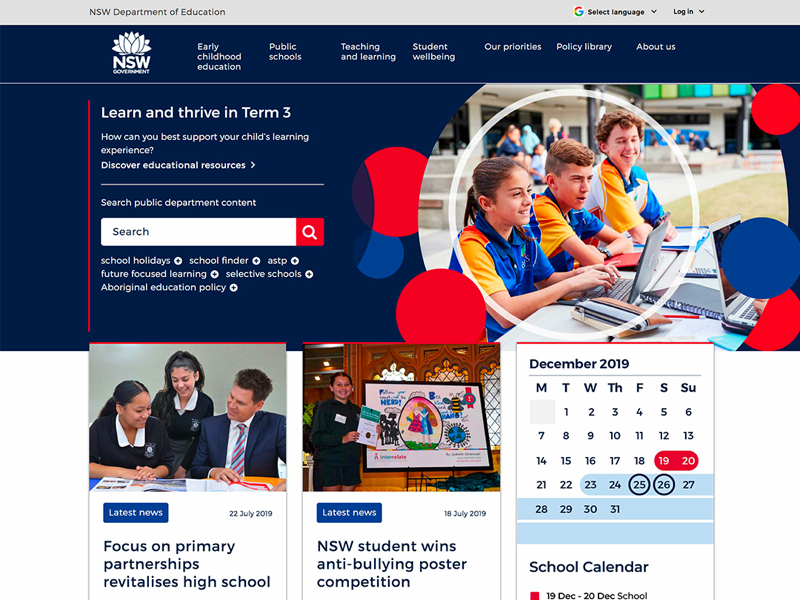 The NSW Department of Education Calendar redesign date calendar education educational