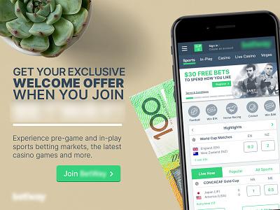 Gambling website promo iphone phone photoshop cash money advertising promo app design app responsive website responsive design sports sport gambling gaming