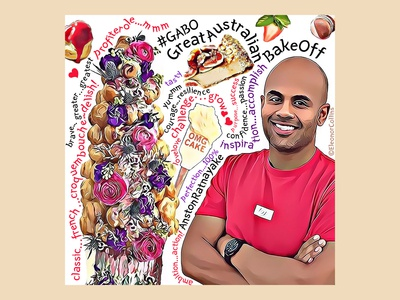Great Australian Bake Off illustration for Anston Ratnayake