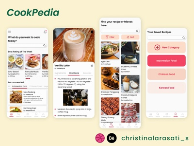 Cookpedia - Your Recipe App app design mobile exploration ui design ux design recipe book cookbook recipe cooking app cooking food app recipe app beginner mobile app design mobile app figma uiux design figma design