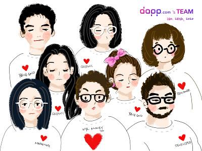 Dapp.com's Team 2019 marketing developer designer team illustration