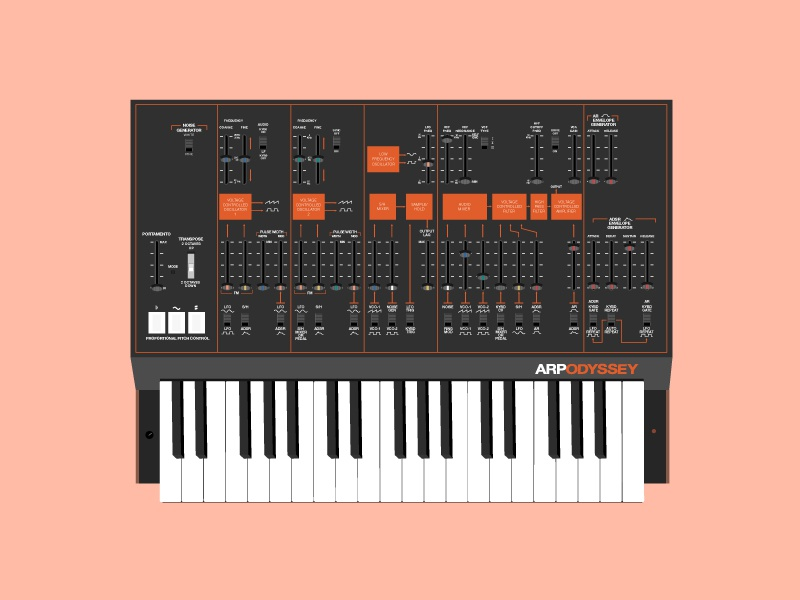 Arp Odyssey Synthesizer electronics gear music vector illustration synthesizer