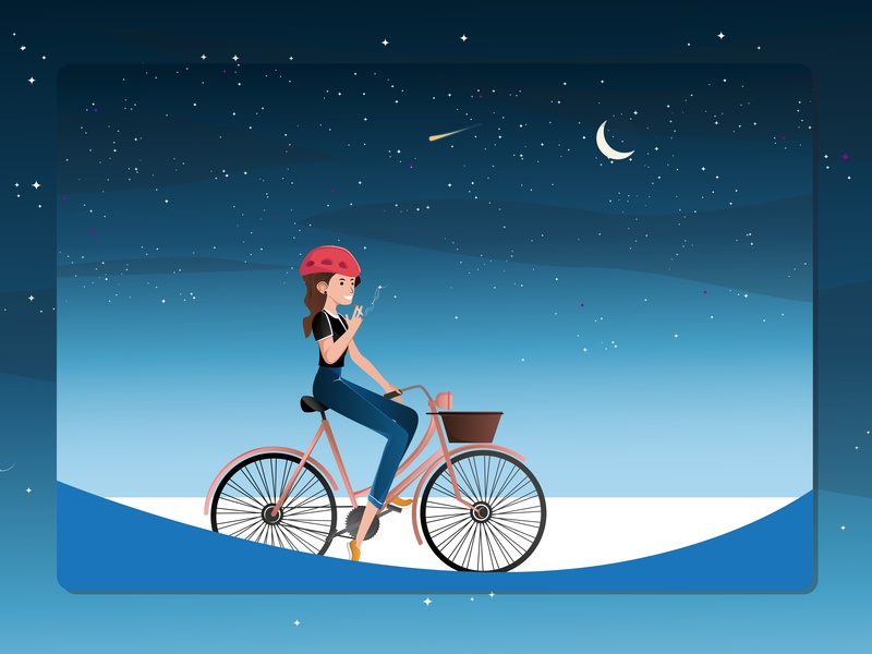 Dream Weekend plan stars dream night scene riding girl girl illustration bicycle days graphics illustration vector design flat images illustrator flat colors