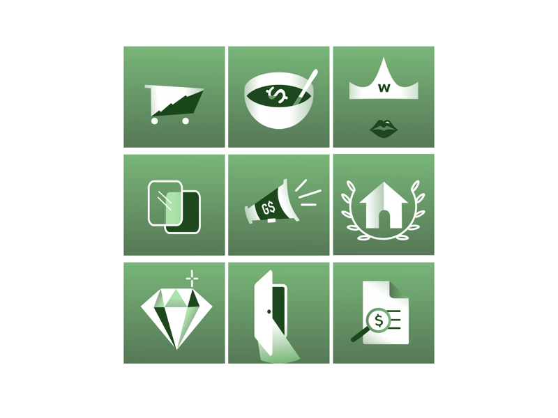 Social Icons for Wealth Management graphic design illustrator marketing social media marketing icons carts crowns home taxes wealth money green finacial literacy