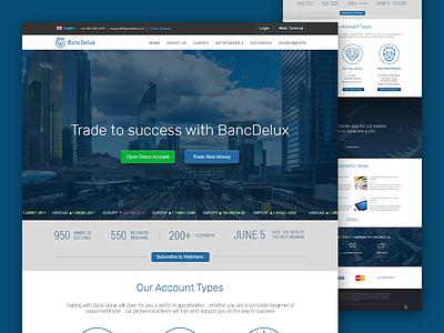 Banc Delux Website designer desktop trading forex typography ui flat web design