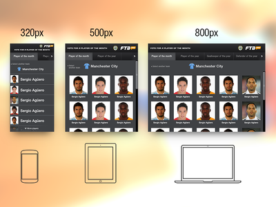 Player of the month - responsive voting widget mobile web widget voting select responsive football soccer scroll ui ux