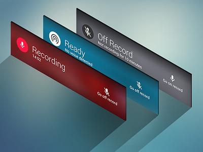 Audlog App Recording Panels audio record log in rec list search blur flat material