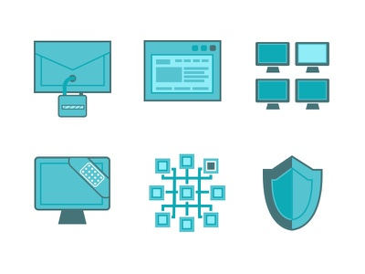 Icons for a startup in stealth mode blue bandaid computers browser email shield uxui ui ux