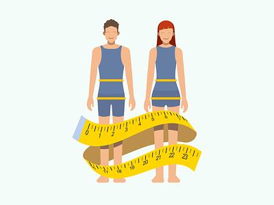Measure waist illustration for Sweetch Health wellness measuring tape tape measure healthcare illustration mobile health app healthy body minimalist flat illustration flat measure health