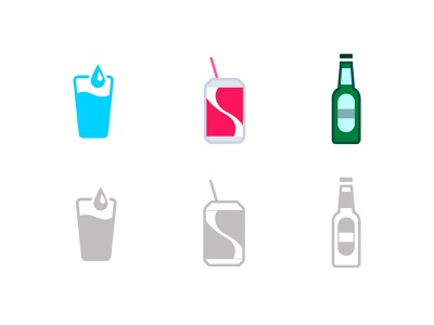 Drink types icons for Sweetch Health bottle beer bottle beer soda can soda glass water mobile app mobile icons wellness healthy healthcare health app health flat illustration