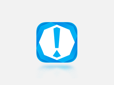 Icon for some antispam project icon blue ios absctract exclamation mark