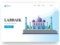 Mosque Art iphone ios web slider heroimage homepage landingpage xd isometric appdesign webdesign ux ui labbaik art mosque