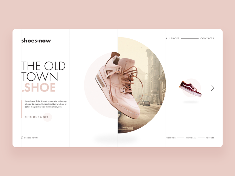 Shoes Now product sport vilnius grid yellow pink town shoe excercise adobe xd lithuania landing futura web ux ui design