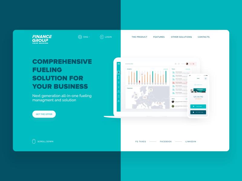 Finance Group website truck green start up dashboard app adobe xd lithuania landing web ux ui design