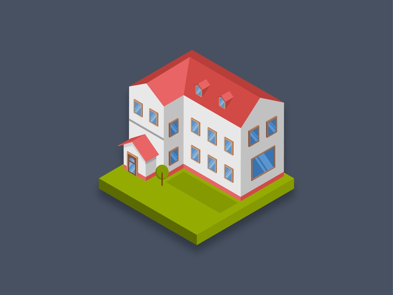 Residence house famous town city tree residence home house icon isometric art 3d graphic building design illustration