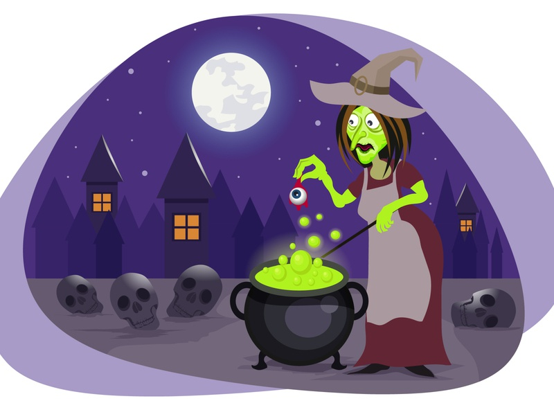 Halloween magic witch 🧛♀️🧟♂️ danger night skull moon hunted festival celebration spooky scary art wallpaper horror monster witch pot magic graphic design illustration