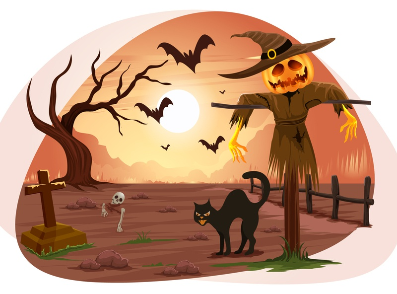 Halloween hunted 🧟‍♂️ celebration festival spooky scary wallpaper sun pumpkin horror danger animal cat hunted tomb graveyard halloween art graphic design illustration