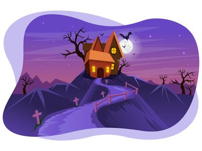 Halloween hunted house 🧟♂️ 🏚 horror night moon bat theme wallpaper building home house celebration festival danger spooky scary hunted halloween art design illustration