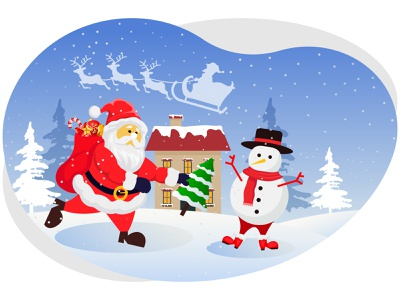 Merry christmas winter december decoration celebration festival party house gifts santa claus snowman snowflakes snow winter xmas merry christmas christmas merry art graphic design illustration
