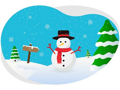 Merry christmas snowman snowman hat pine tree decoration festival celebration holiday december merry christmas christmas merry snowflakes snow xmas winter art graphic design illustration