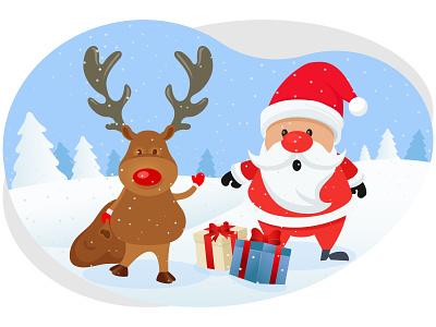 Merry christmas winter pine tree present gift santa claus deer december snowflakes snow holiday celebration festival merry christmas christmas merry xmas winter art graphic design illustration