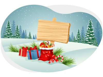 Merry christmas winter, gifts pine tree board candies present gifts december snowflakes snow holiday celebration festival merry christmas christmas merry xmas winter art graphic design illustration