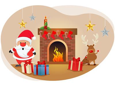 Merry christmas santa claus san francisco celebration decoration heat fire presents gifts deer santa claus december holiday festival xmas merry christmas christmas merry art graphic design illustration