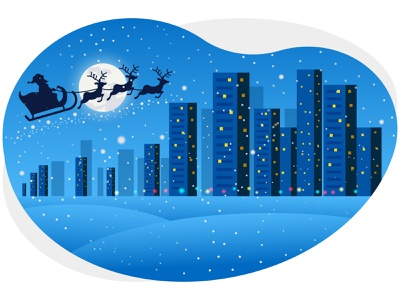 Merry christmas & winter night moon building deer santa claus santa december snowflake snow merry christmas christmas merry city festival xmas graphic art winter design illustrator