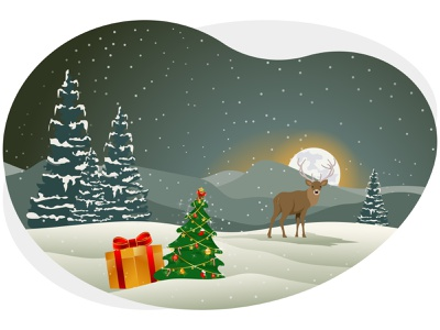 Merry christmas winter festival night gifts presents deer holiday december decoration pine tree snow snowflake merry christmas christmas merry xmas winter art graphic design illustration