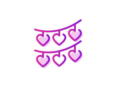 Decoration 💕👇 beautiful romantic heart love celebration flags party festival decoraton propose day valentines day icon gradient art graphic design