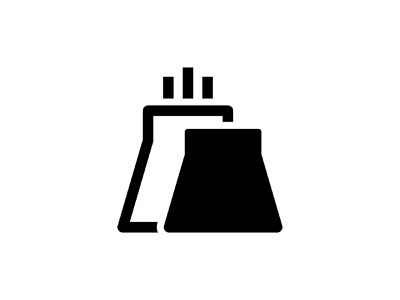 Factory 🏭👇 black glyph vector icon art graphic design illustration pollution production nuclear building power plant industry company mill factory