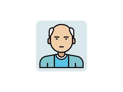 Old Man 👇 color filled outline icon art graphic design illustration old age senior elderly grand father avatar professional person people man old old man