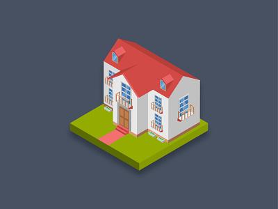 Residence House 3d art isometric art modern building home house residence 3d isometric art graphic design illustration