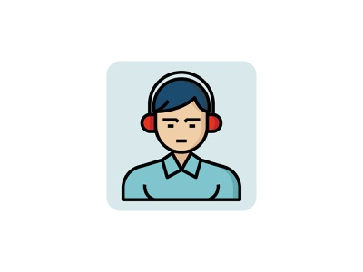 Service Employee 👇 outline color filled icon user man avatar profession headphone support people employee service art graphic design illustration